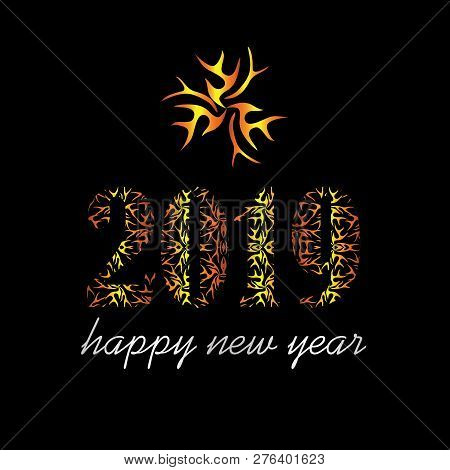 Ethnic Abstract 2109 Happy New Year Design. 2019 On Black Background, Happy New Years, 2019 New Year