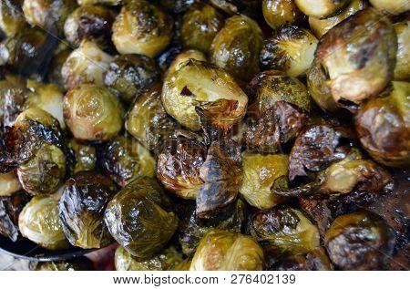 Seasoned Roasted Brussel Sprouts Vegetables On Pan