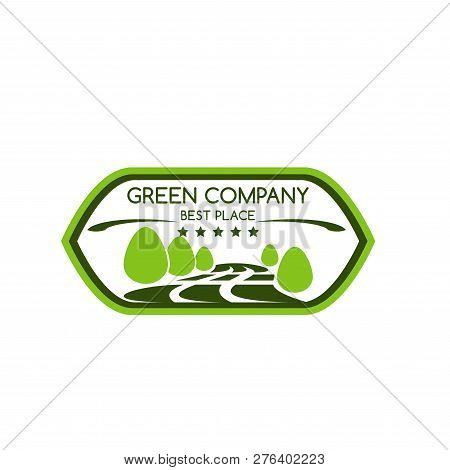 Green Company Icon For Best Award Of Trees Or Nature Park And Forest For Landscaping Design Or Earth