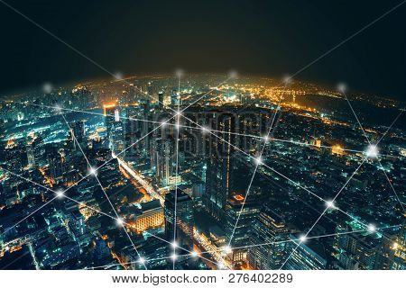 Network And Connection Technology Night City Background At Business Center Bangkok Thailand. Wireles