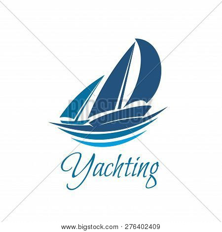 Yachting Sport Or Club Icon Of Yacht On Waves. Vector Blue Yacht Sails Or Sailboat On Sea Wave Badge