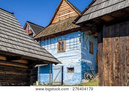 Vlkolinec, Slovakia - April 2: Rural Colorful Cottages In Unesco Village On April 2, 2018 In Vlkolin