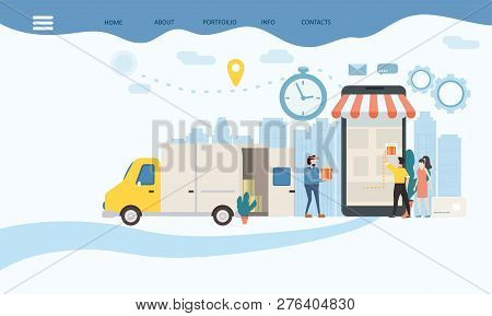 Landing Delivery Of Goods, Tracking Of Goods Online Tracker. Smartphone, Parcel Delivery Truck, Tiny