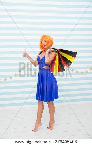 Last Preparations. Big Sale In Shopping Mall. Happy Woman Go Shopping. Fashion. Black Friday Sales.
