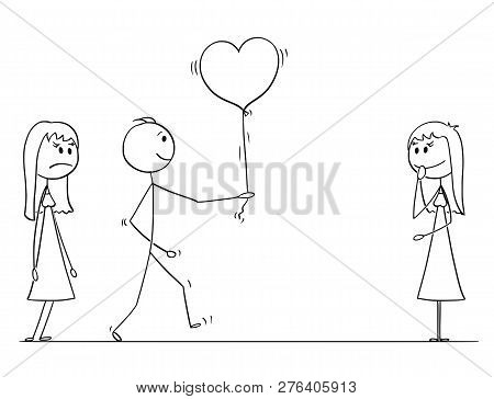 Cartoon Stick Drawing Conceptual Illustration Of Loving Man Or Boy In Love Choosing To Give Heart Sh