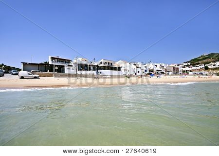 Salema beach view in the Algarve in Portugal poster