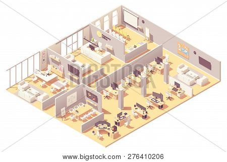 Vector Isometric Corporate Office Interior. Reception, Conference Room, Presentation Room, Executive