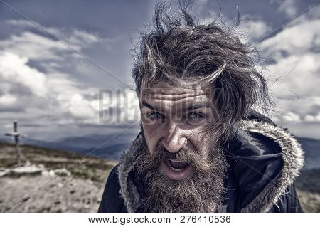 Man. Bearded Man, Long Beard. Brutal Caucasian Hipster With Moustache On Surprised Face, Unshaven Gu