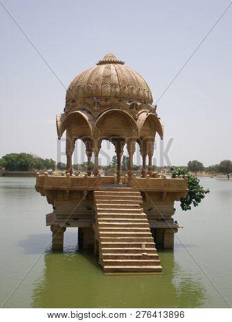 Temple On Lake In Rajastan Insdia Asia
