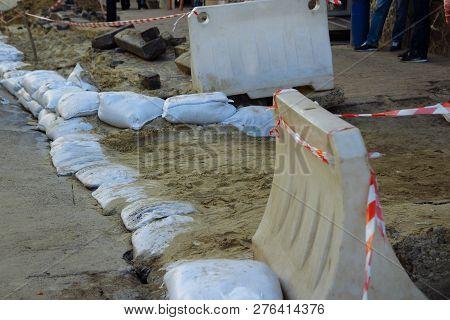 The Wall Of Sandbags. Sandbags Wall, Protection, Flood