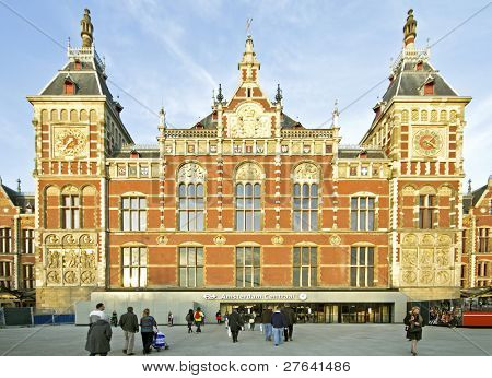 Central Station in Amsterdam the Netherlands