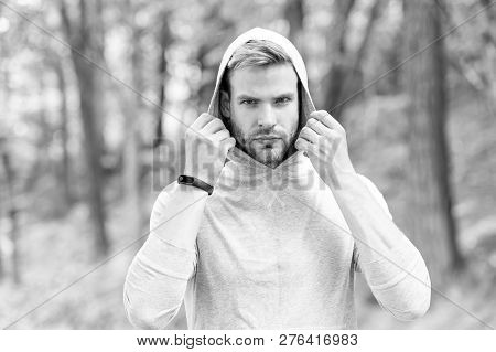 Feeling Confident. Comfortable Means Simple. Guy Bearded Attractive Casual Clothes Hooded. Man With