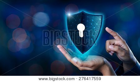Earth Polygon Mesh Planet World Businessmen Shake Hands To Protect Information In Cyberspace. Busine