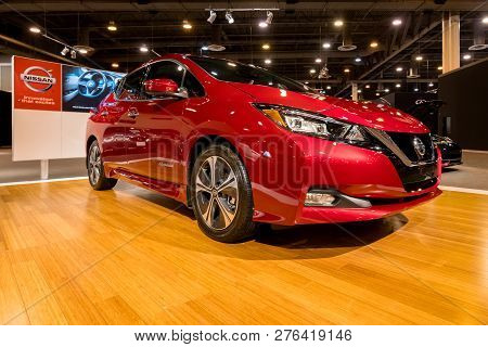 Houston, Texas - January 28, 2018: New 2018 Nissan Leaf Electric Car Shown At The Houston Auto Show