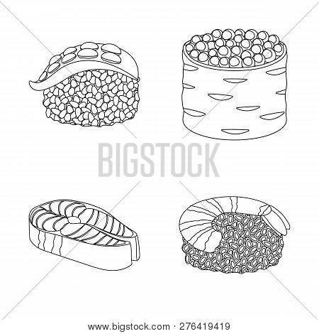 Vector Illustration Of Sushi And Fish Symbol. Set Of Sushi And Cuisine Stock Vector Illustration.