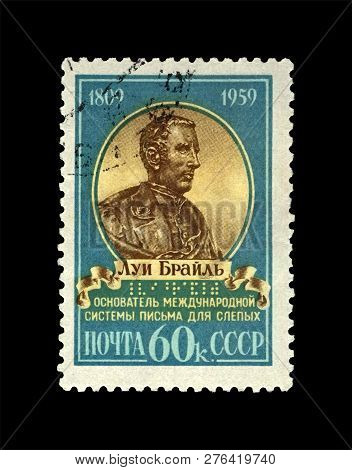 Ussr - Circa 1959: Canceled Stamp Printed In Ussr Shows Louis Braille (1809-1852), Famous Educator,