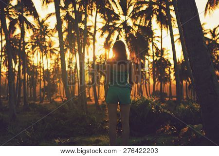 Traveler Girl Ln Tropical Nature In Vacation. Young Girl Traveler Looking To Sunset In Nature. Trave