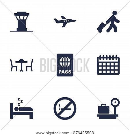 Set Of 9 Plane Icons Set. Collection Of Control Tower, Bed, Calendar And Other Elements.