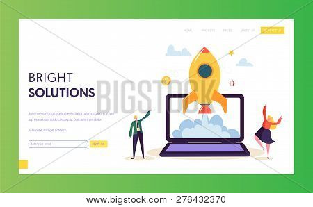 Creative Startup Rocket Launch Landing Page. Business People Character Start Successful Project Deve