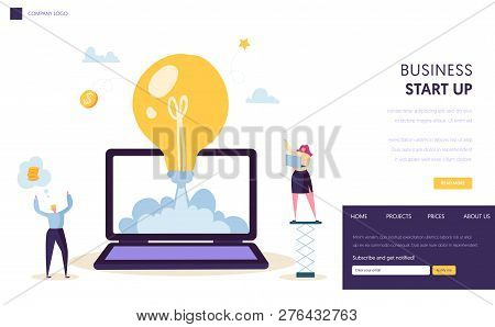 Startup Creative Idea Start Landing Page Template. Light Bulb Conceptual Icon. Happy Business Charac