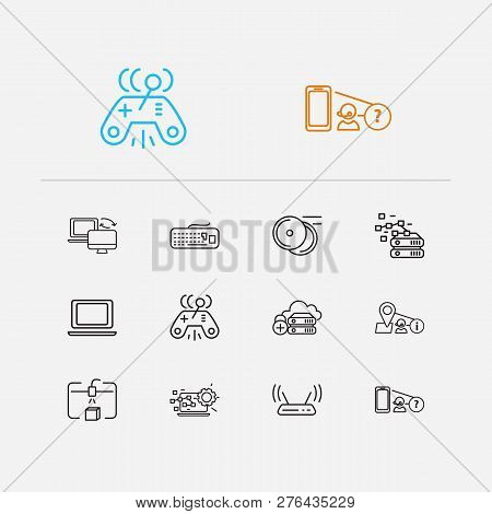 Hardware Icons Set. Steamroller And Hardware Icons With Find My Phone, Geolocation Service And Data
