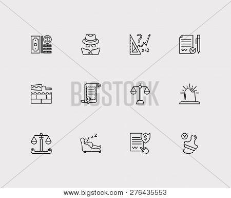 Legal Icons Set. Detective And Legal Icons With Legal, Siren And Stamp. Set Of Weigh For Web App Log