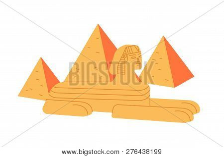 Great sphinx and Giza pyramid complex isolated on white background. Colossal statue of legendary creature from ancient Egypt mythology. Historical and cultural landmark. Flat vector illustration. poster