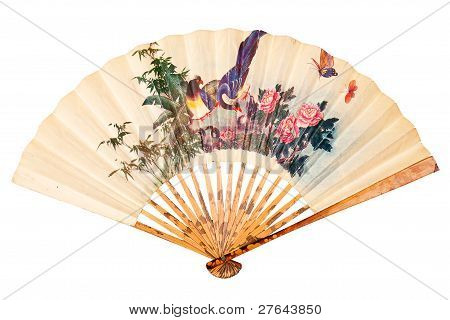 Painted hand fan with birds and flowers isolated on white poster