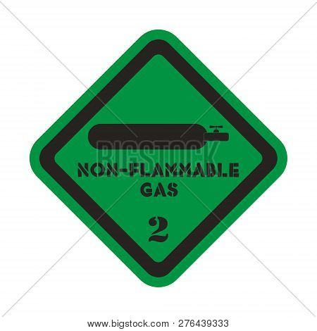 Non-flammable And Non- Toxic Gas Vector Sticker On The Green Background