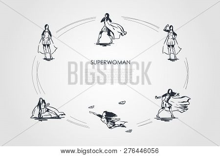 Superwoman - Woman In Superman Costume And On High Heels Flying, Struggling And Showing Her Power Ve
