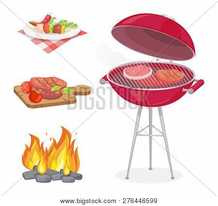 Beefsteak Roasted Meat On Grille Grid Isolated Icons Set Vector. Fire Flame And Beef Served On Plate
