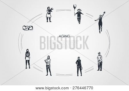 Aging - Different Stages Of Woman Age From Infance, Childhood Girl To Adult And Old Woman Vector Con