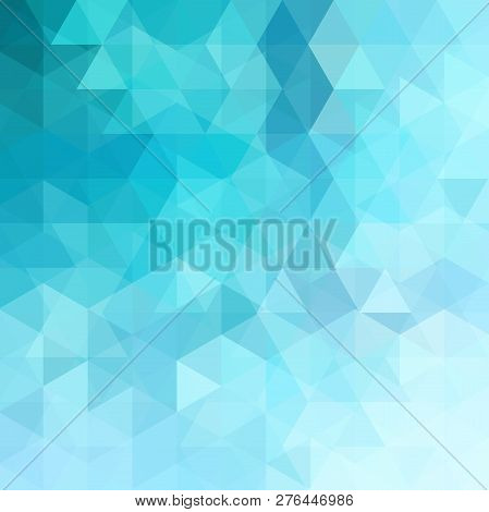 Background Of Blue Geometric Shapes. Abstract Triangle Geometrical Background. Mosaic Pattern. Vecto