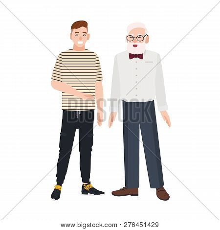 Cute Smiling Grandfather And Grandson Standing Together. Funny Happy Elderly Man And Young Guy Talki
