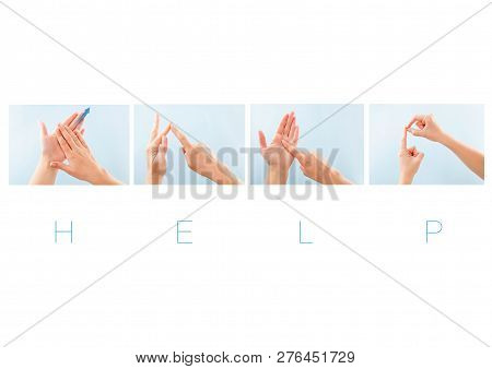 Help Word In British Sign Language For Deaf Mute People. Nonverbal Message.