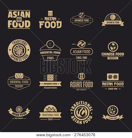 Asian Food Logo Icons Set. Simple Illustration Of 16 Asian Food Logo Vector Icons For Web