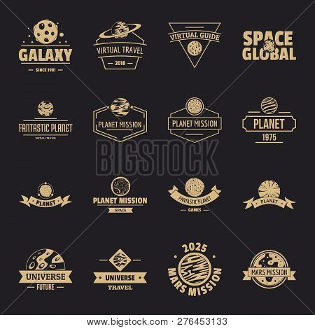 Space Planet Logo Icons Set. Simple Illustration Of 16 Space Planet Logo Vector Icons For Web