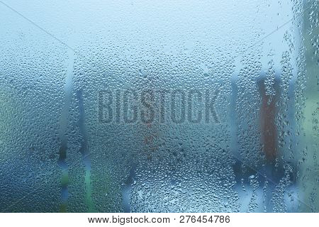 Misted Wet Window Glass As Background Texture