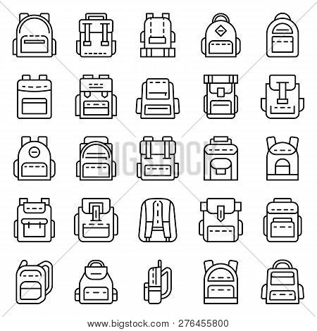 Backpack Icon Set. Outline Set Of Backpack Vector Icons For Web Design Isolated On White Background