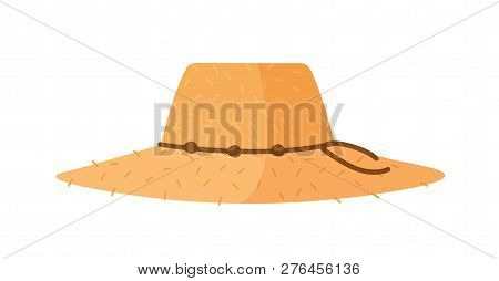 Farmer Or Agricultural Worker Straw Hat With With Wide Brim And Rope Isolated On White Background. W