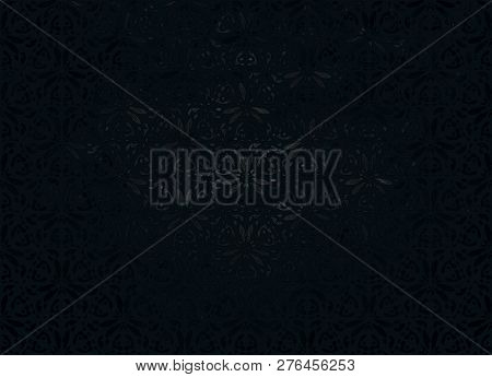 Black Background Or Gray Background. Black Seamless Floral Pattern. Vector. Abstract Black Backgroun