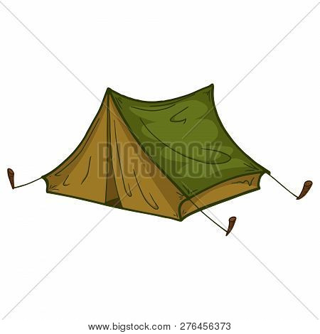 Tent. Tourist Tent. Vector Of A Camping Tent. Hand Drawn Tent For Hiking And Tourism.