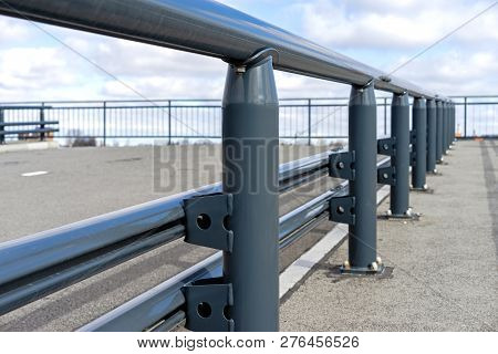 Safety Traffic Barrier Painted Steel Construction Closeup