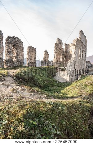 Ruins Of Povazsky Hrad Castle Above Povazska Bystrica City In Slovakia During Nice Autumn Day With B