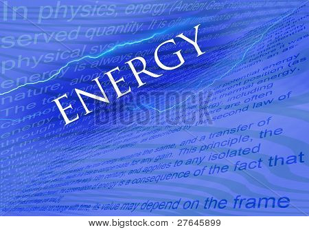 Text Energy On Blue Background