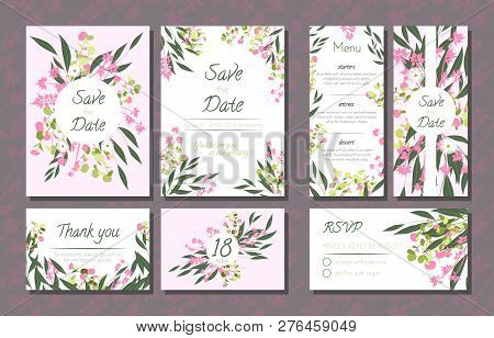 Floral Wedding Invitation With Vector Eucalyptus Leaves, Forest Herbs, Elegant Decorative Flowers. V