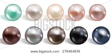 Realistic Different Colors Pearls Set. Round Colored Nacre Forme