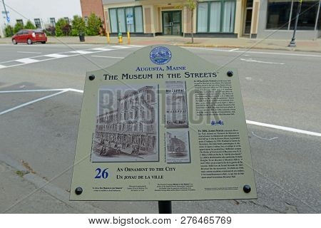 Augusta, Me, Usa - June 07, 2015: The Museum In The Streets Sign Introduce The Historic Landmarks In