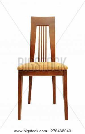 Wooden Chair For Dining Table Isolated On Whie