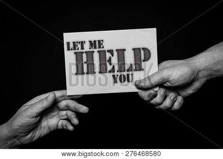 Helping Hands Concept, Person Holding Card Giving To Another In Need